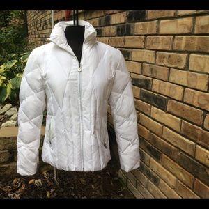 Nine West White Hooded Down Puffer Sz. L Coat